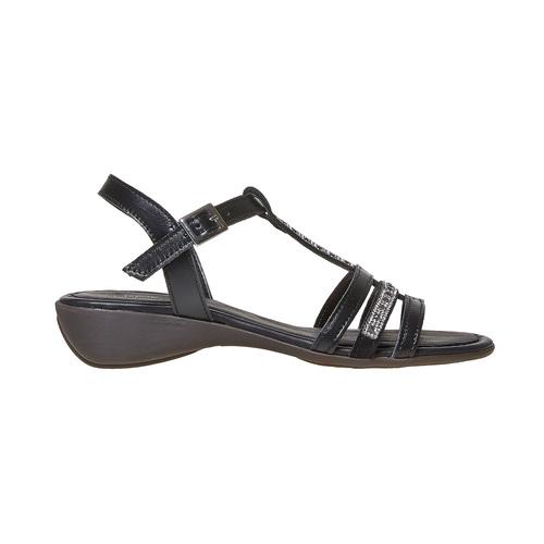 Sandali in pelle da donna con strass sundrops, nero, 564-6402 - 15