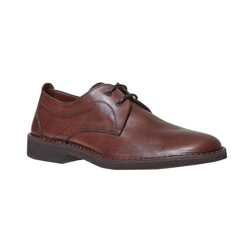 Scarpe basse in pelle marrone con cuciture, marrone, 854-4111 - 13