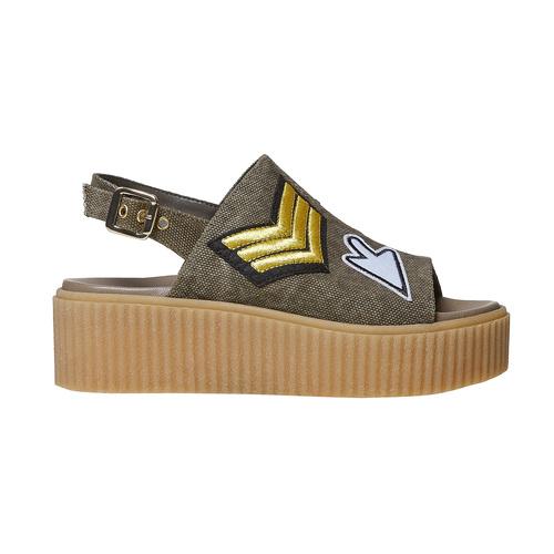 Sandali color cachi con flatform bata, khaki, 669-3276 - 15