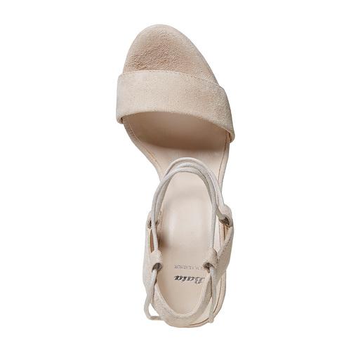Sandali di pelle con tacco e lacci bata, giallo, 763-8581 - 19