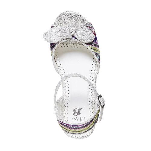 Sandali da ragazza con plateau basso mini-b, bianco, 369-1220 - 19