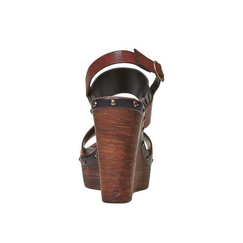 Sandali in pelle con plateau alto bata, marrone, 764-4674 - 17