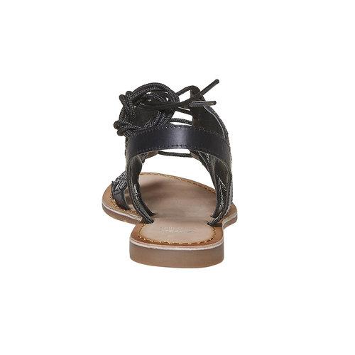 Sandali da donna in pelle con lacci bata, nero, 564-6457 - 17