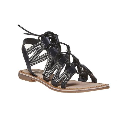 Sandali da donna in pelle con lacci bata, nero, 564-6457 - 13
