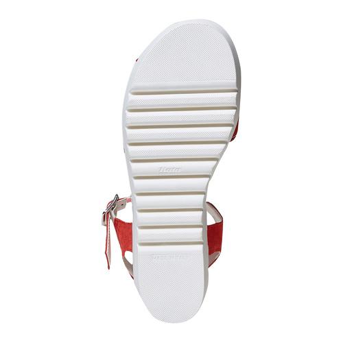 Sandali rossi in pelle con fiocco bata, rosso, 663-5111 - 26