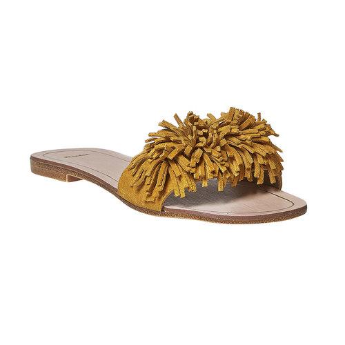 Slip-on in pelle da donna bata, giallo, 573-8354 - 13