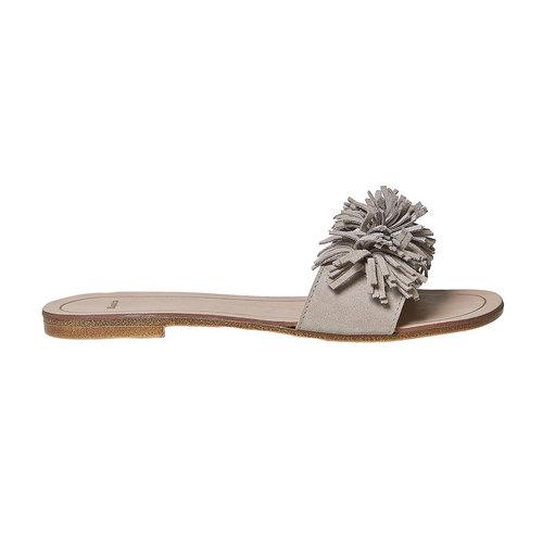 Slip-on in pelle con frange bata, beige, 573-3354 - 15