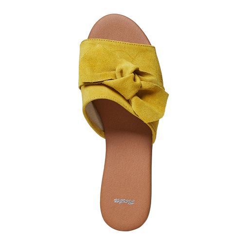 Slip-on in pelle da donna bata, giallo, 563-8411 - 19