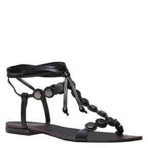 Sandali neri con lacci bata, nero, 561-6496 - 13