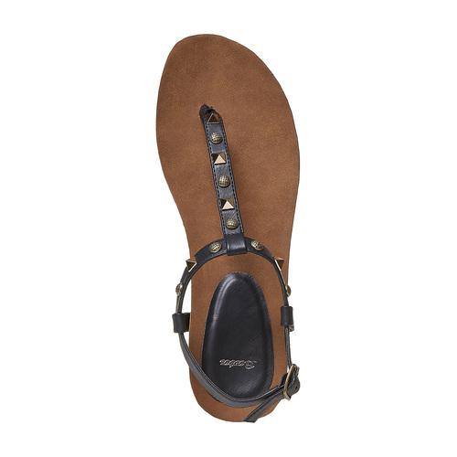 Sandali da donna con borchie di metallo bata, nero, 561-6292 - 19