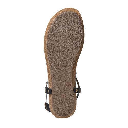 Sandali da donna con borchie di metallo bata, nero, 561-6292 - 26