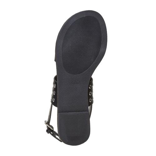 Sandali neri con borchie di metallo bata, nero, 561-6297 - 26