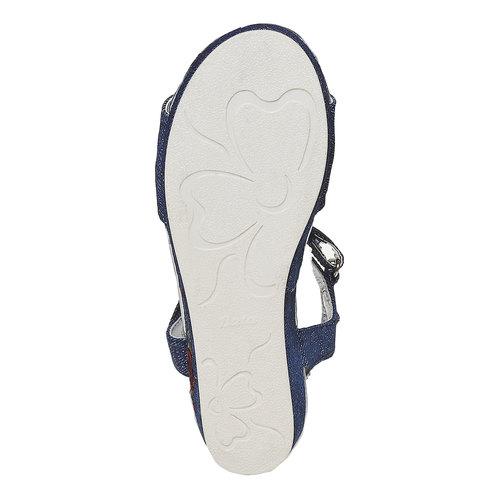 Sandali blu da ragazza con ricamo mini-b, blu, 369-9205 - 26