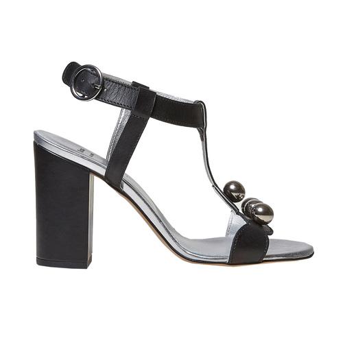 Sandali neri in pelle con tacco bata, nero, 764-6207 - 15