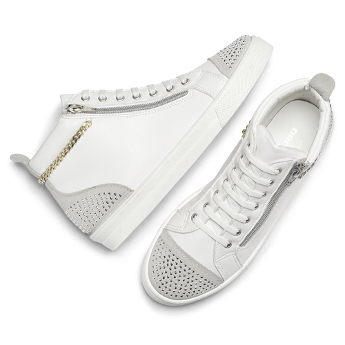 Sneakers alte con strass north-star, bianco, 541-1203 - 19