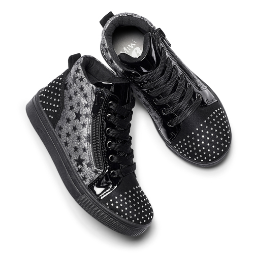 Sneakers alte con strass mini-b, nero, 229-6204 - 19