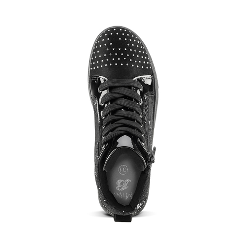 Sneakers alte con strass mini-b, nero, 329-6302 - 15