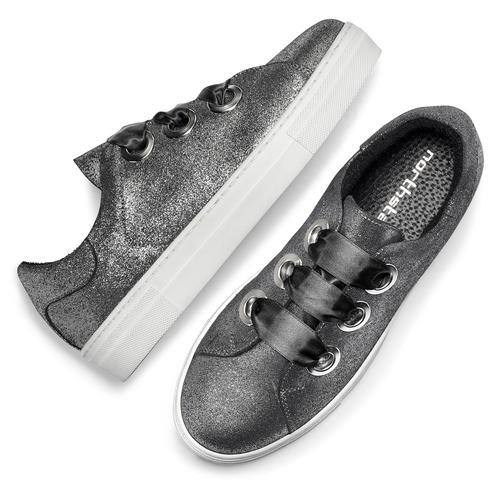 Sneakers metallizzate con lacci in raso north-star, bianco, 543-1359 - 19