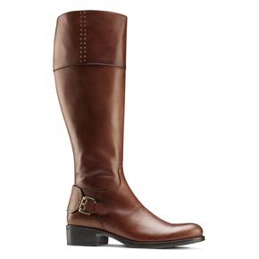 Stivali alti in pelle con borchie bata, marrone, 594-3427 - 13