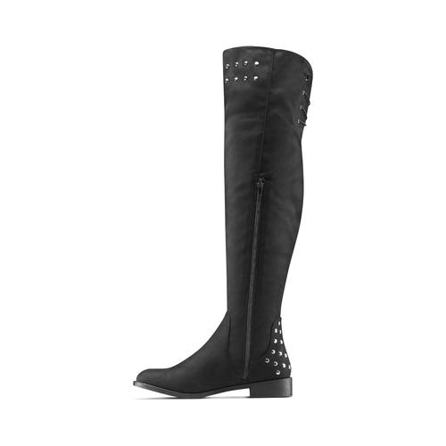 Stivali alti effetto scamosciato bata, nero, 599-6113 - 16