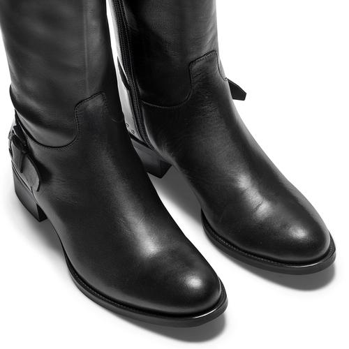 Stivali alti in pelle con dettagli bata, nero, 594-6427 - 15