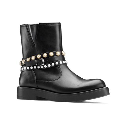 Stivaletti con perle bata, nero, 591-6145 - 13