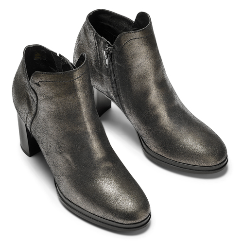 Tronchetti in pelle con tacco bata, nero, 794-6690 - 15
