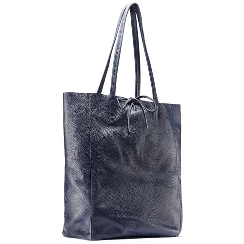 Shopper in Vera Pelle bata, blu, 964-9122 - 13