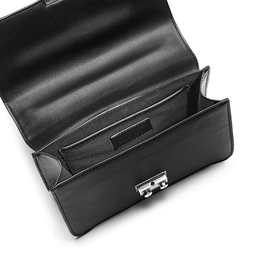 Borsa a tracolla con catena e ricami bata, nero, 961-6179 - 16