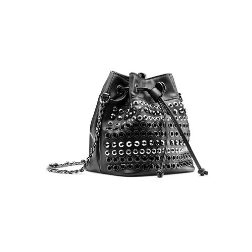Borsa a secchiello con borchie bata, nero, 961-6204 - 13