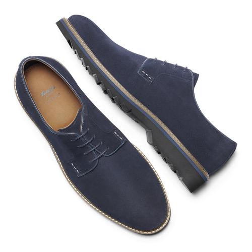 Scarpe stringate in camoscio bata-light, blu, 823-9986 - 19
