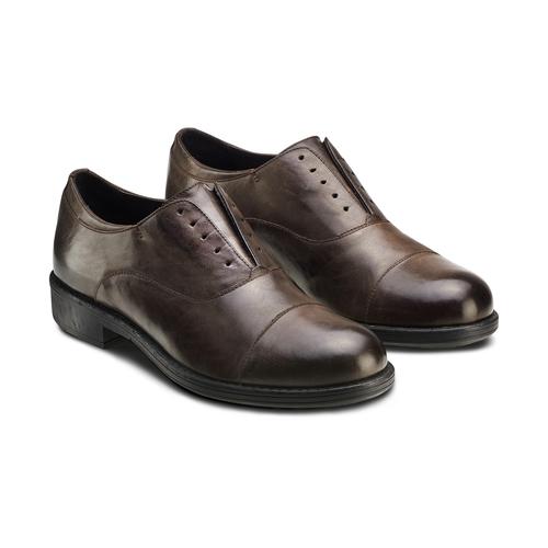 Scarpe in vera pelle senza lacci bata, marrone, 824-4240 - 16