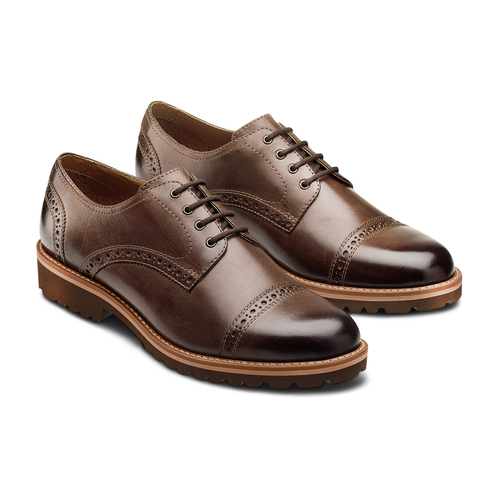 Stringate uomo marroni con decorazioni Brogue bata-light, marrone, 824-4977 - 16