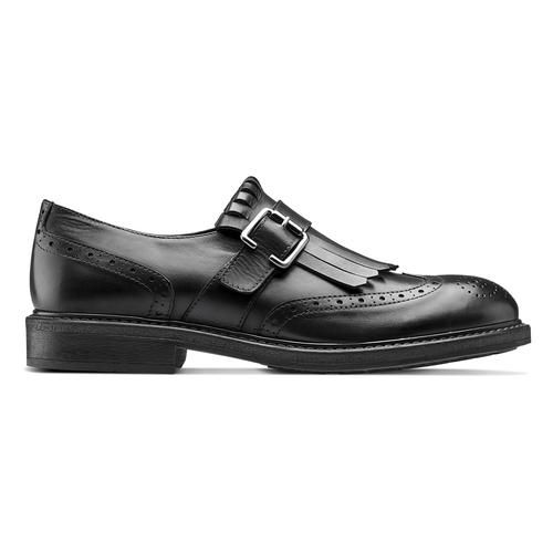 Scarpe da uomo con frange e fibbia bata, nero, 824-6163 - 26