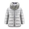 Piumino da donna con eco-pelliccia bata, grigio, 979-2158 - 13