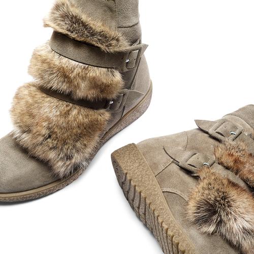 Ankle boots Michelle con dettagli in pelliccia bata, grigio, 593-2442 - 19
