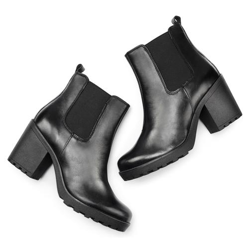 Stivaletti con tacco in pelle bata, nero, 794-6669 - 19