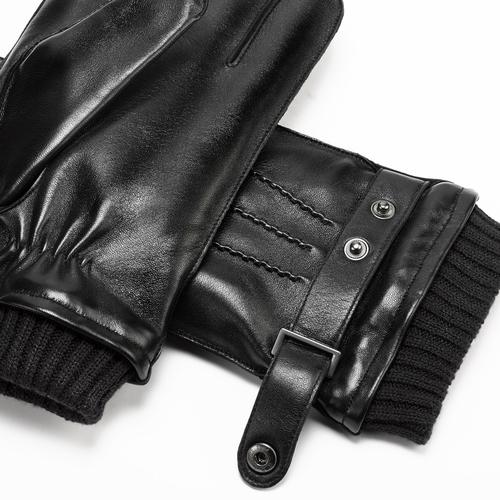 Guanti da uomo con cinturino bata, nero, 904-6127 - 15