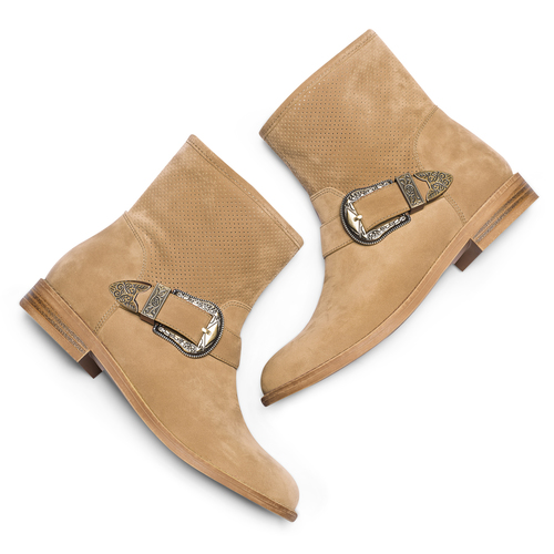 Ankle boots con fibbia bata, beige, 599-8691 - 26