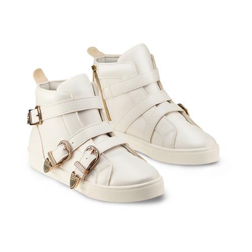 Sneakers alte con fibbie bata, bianco, 541-1193 - 16