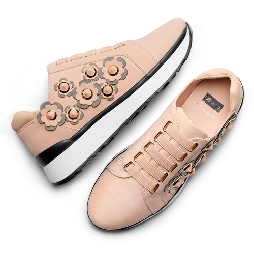 Sneakers basse con fiori applicati bata, 549-5165 - 26