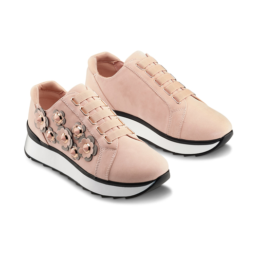 Sneakers basse con fiori applicati bata, 549-5165 - 16