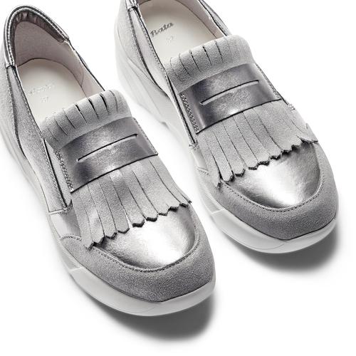 Sneakers con frange bata, grigio, 614-2131 - 26