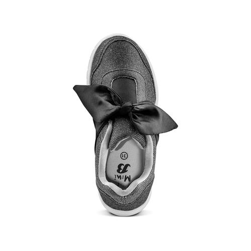 Sneakers da bambina con fiocco mini-b, nero, 329-6341 - 17