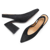 Sling back shoes in pelle scamosciata bata, nero, 723-6248 - 26