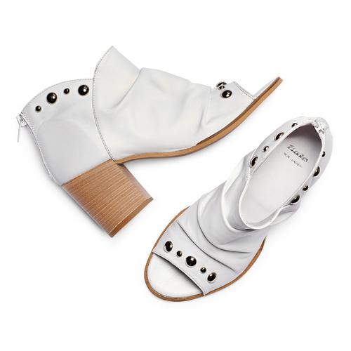 Sandali con effetto arricciato bata, grigio, 724-2192 - 26