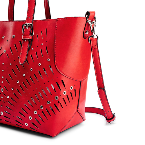 Shopper con trafori bata, rosso, 961-5220 - 15