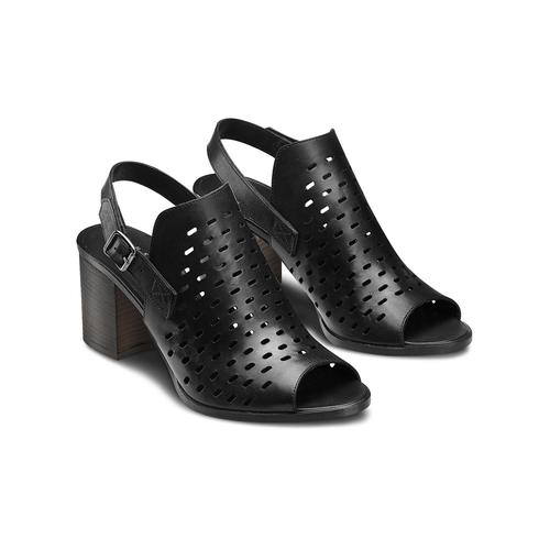 Sandali in pelle bata, nero, 764-6161 - 16