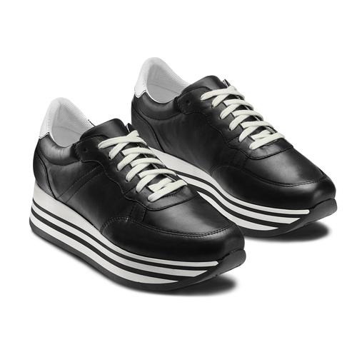 Sneakers platform bata, nero, 644-6102 - 16