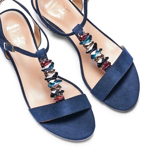Sandali con tacco basso insolia, blu, 669-9131 - 26
